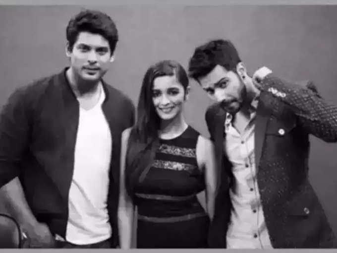 Alia and Varun with Sidharth Shukla (file photo)