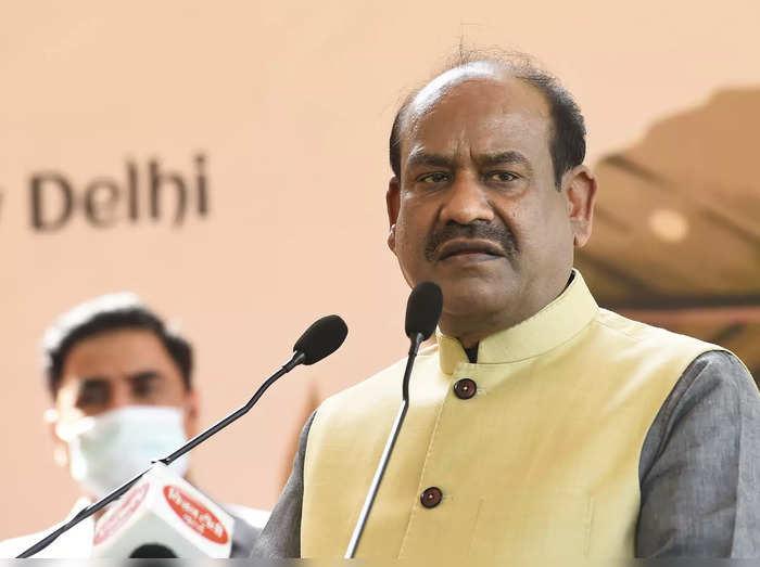 New Delhi: Lok Sabha Speaker Om Birla addresses a function before planting a fru...