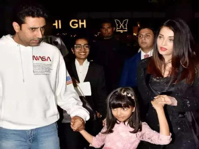 bollywood actress aishwarya rai bachchan wore glamorous black short dress on daughter aaradhya bachchan birthday