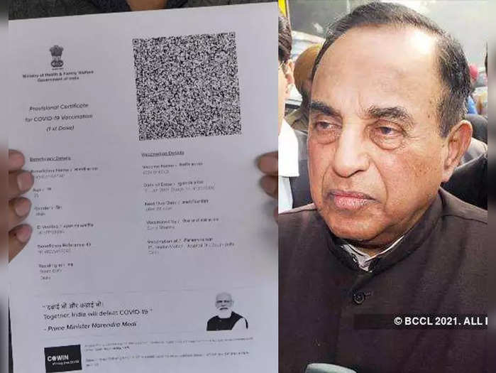 pm modis photo on vaccination certificates is ridiculous says subramanian swamy