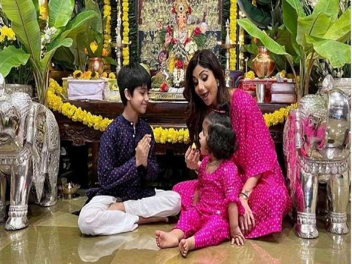राजशिवाय शिल्पा शेट्टी साजरा करतेय गणेशोत्सव; शेअर केले मुलांच्या सोबतचे फोटो