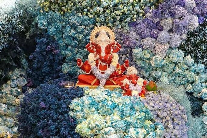 Ganesh Chaturthi awesome decorations at Arpita Khan house