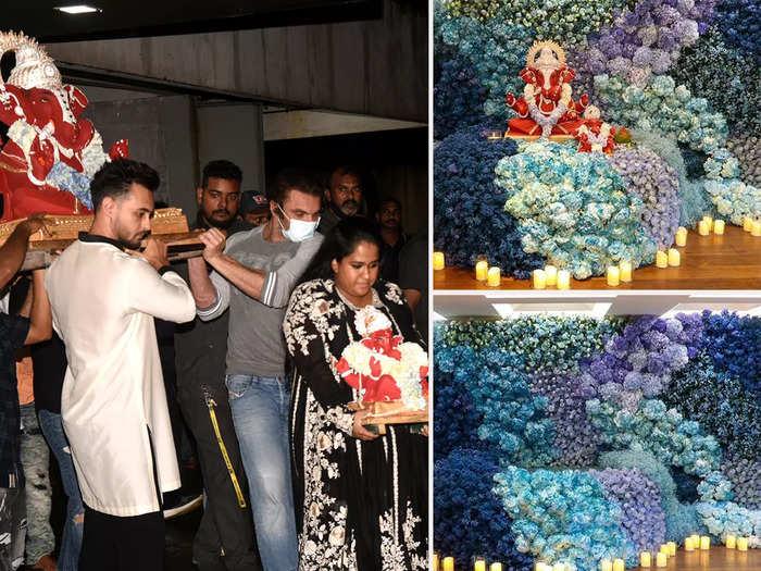 inside pictures of Arpita Khan Ganesh Chaturthi decorations