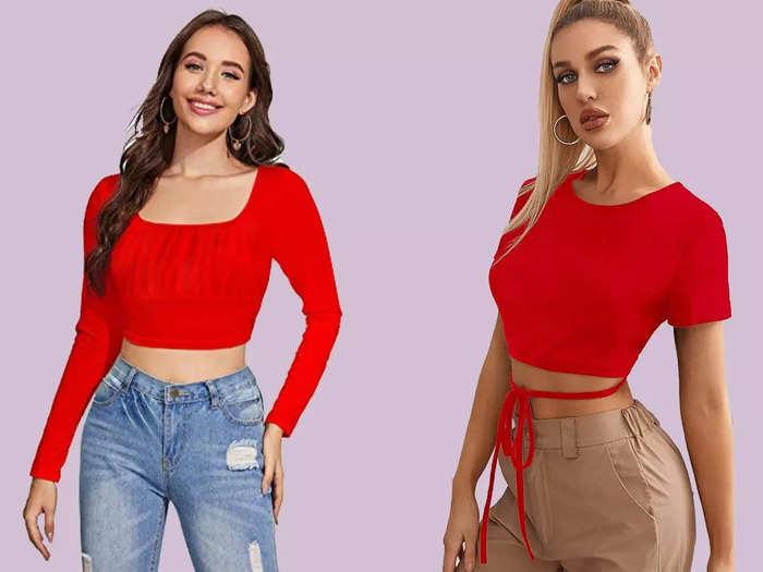 रेड कलर की इन Crop Tops को पहनकर आपको मिलेगा गॉर्जियस लुक और पूरा कंफर्ट