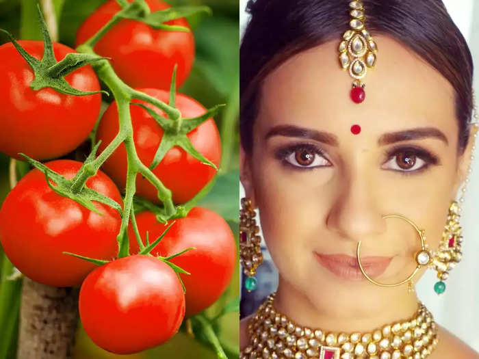 start using tomato on skin to get glowing and fairer bridal look on wedding day
