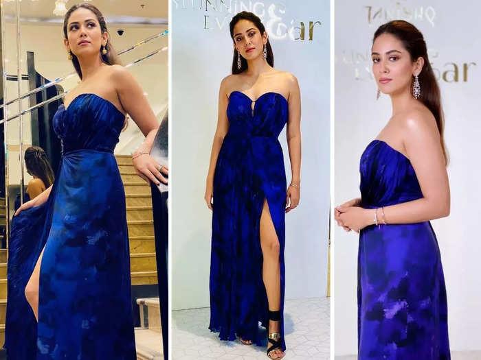 shahid kapoor wife mira rajput kapoor looks stylish in saaksha and kinni blue thigh slit strapless dress
