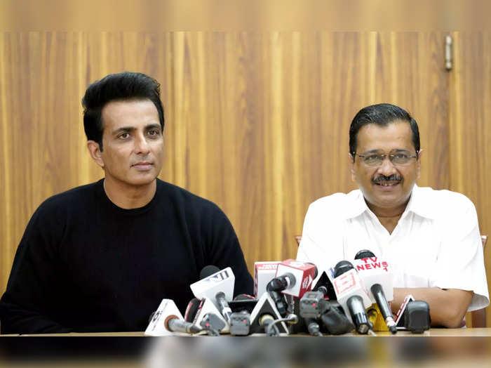New Delhi, Aug 27 (ANI): Bollywood actor Sonu Sood with Delhi Chief Minister Arv...