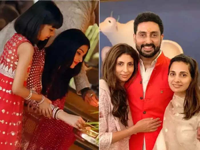 bollywood actress aishwarya rai looking beautiful in white color dress than sister in law shweta bachchan raksha bandhan celebration
