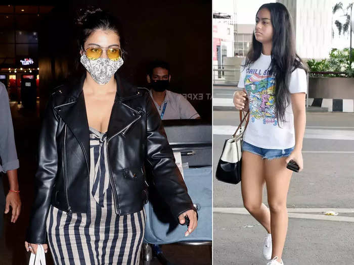kajol aces the airport fashion with leather jacket and maxi dress looks cooler than nysa