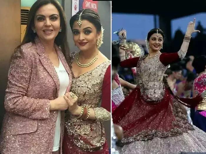 bollywood actress aishwarya rai bachchan wore red color suit designed by manish malhotra for nita ambani niece pre wedding function