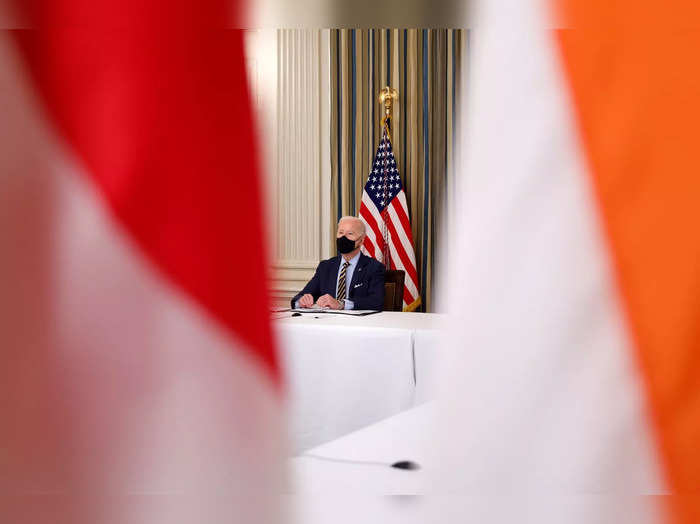 President Biden holds a virtual meeting with Asia-Pacific Quad nation leaders at the White House in Washington