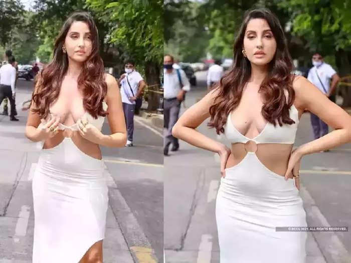 bollywood actress nora fatehi wore cutout white bold designer dress hot look viral on social media