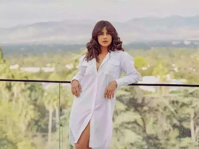 actress priyanka chopra wore husband nick jonas stylish printed shirt with cycle shorts see her glamorous look