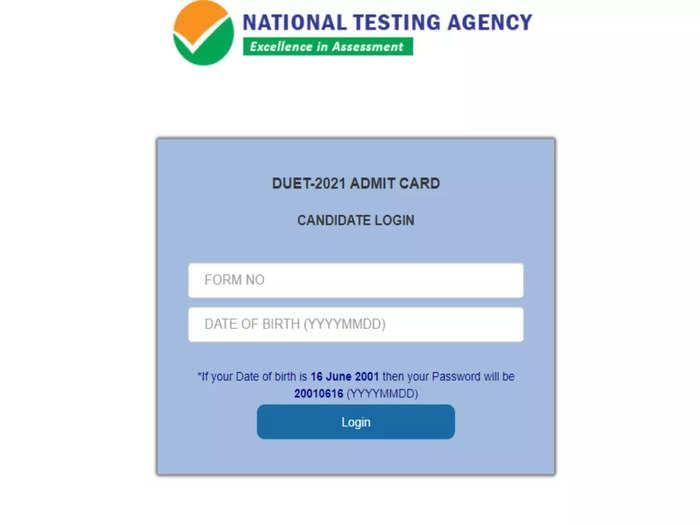 DUET Admit Card 2021