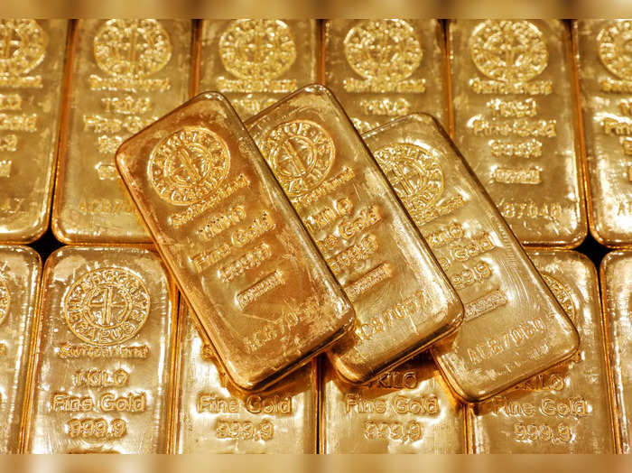 FILE PHOTO: Gold bullion is displayed at GoldSilver Centrals office in Singapore