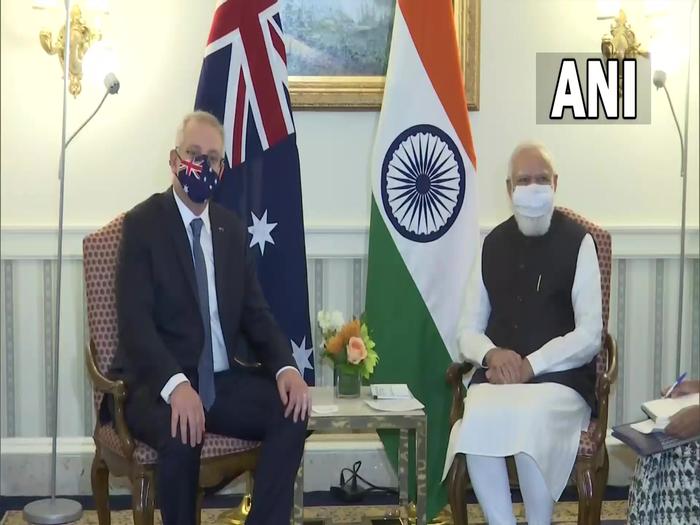 प्रधानमंत्री नरेंद्र मोदी के साथ ऑस्ट्रेलियाई पीएम स्कॉट मॉरिसन