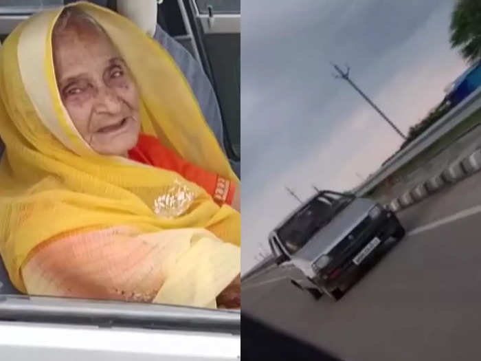 95 year old dadi driving car at indore dewas highway in full speed, watch full video