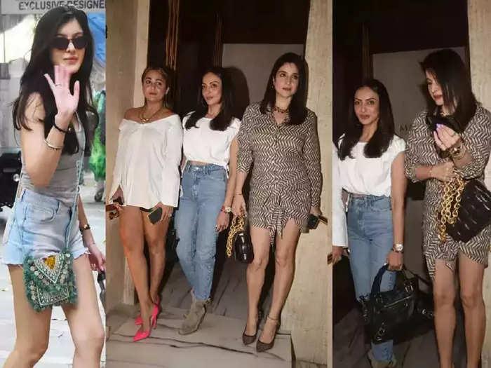 actor sanjay kapoor wife maheep kapoor bold short shirt dress look in manish malhotra party