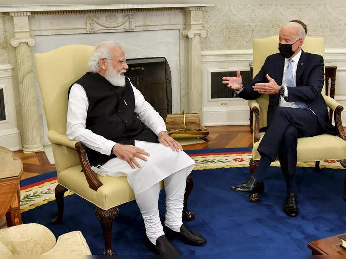 Washington: Prime Minister Narendra Modi with US President Joe Biden in the Oval...