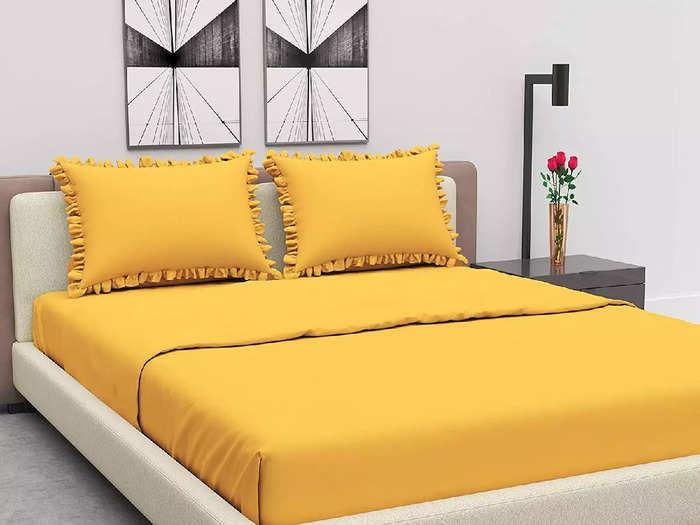 देखने में काफी खूबसूरत हैं ये येलो कलर की Bed Sheet, डबल बेड के लिए हैं सूटेबल