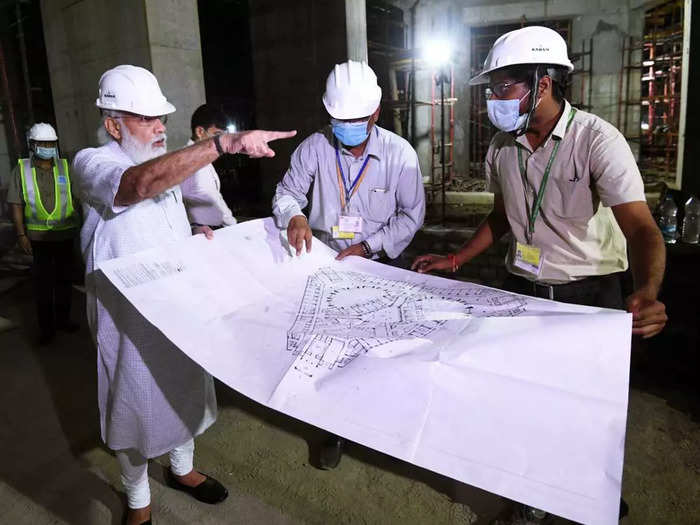 pm modi inspects central vista photos after us trip prime minister visits new parliament building