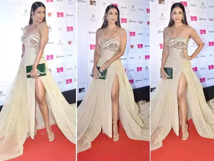 actress malaika arora wore golden slit dress for liva miss diva universe 2021