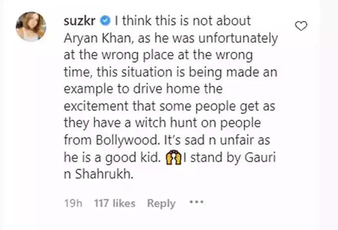 Sussanne-khan Post for Aryan