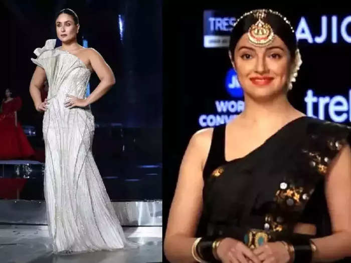 lakme fashion week 2021 actress divya khosla kumar looking more beautiful and stylish in black color saree than kareena kapoor gown look