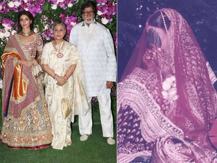 amitabh bachchan-jaya bachchan daughter shweta bachchan looks beautiful bride in abu jani sandeep khosla