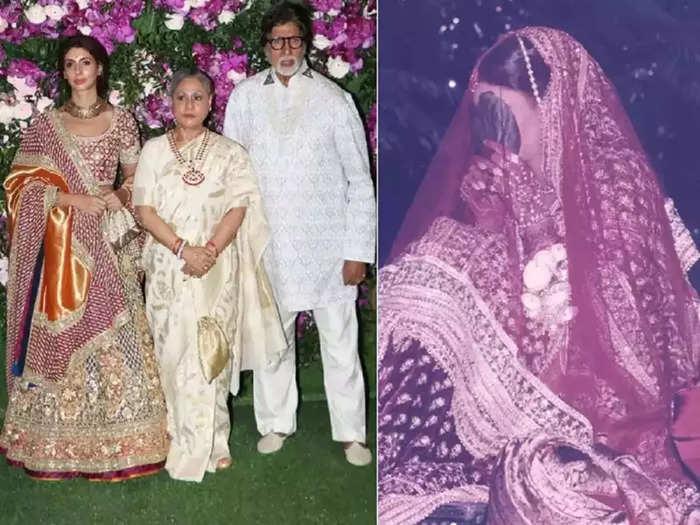 amitabh bachchan daughter shweta bachchan wore embroidered bridal lehenga for fashion designer abu jani sandeep khosla show